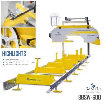 BAMATO Blockbandsäge BBSW-600 mit 4,6m Rollbahn inkl. 5x Sägeband