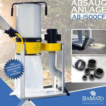BAMATO Absauganlage AB-1500CF mit Feinstaubfilter und Adapter Set (400V)