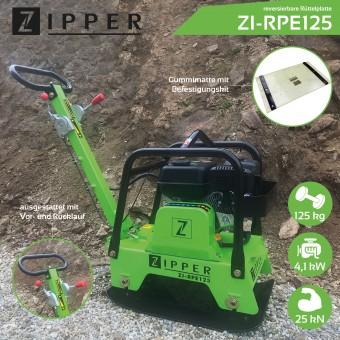 Zipper Rüttelplatte ZI-RPE125 mit Vor- und Rücklauf